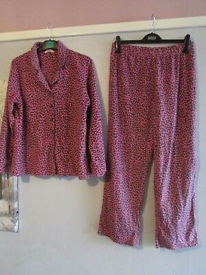 ladies pretty patterned pink/grey cosy fleece pyjamas from m&s size 12-14