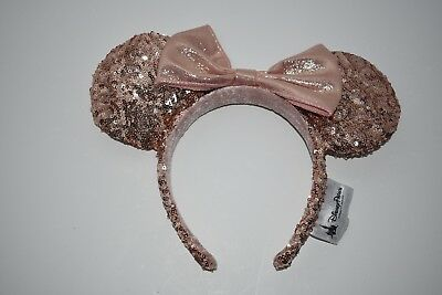 """Disney Parks """"ROSE GOLD"""" Champagne Minnie Mouse Bow Sequins Ear Headband"""