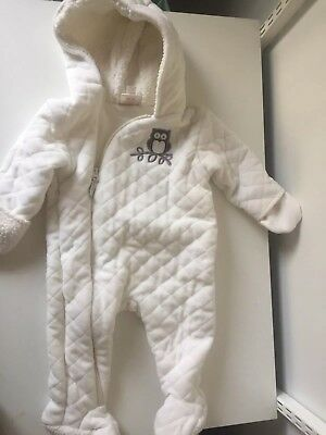 Baby Snowsuit.  White puffy.  6-9 months.