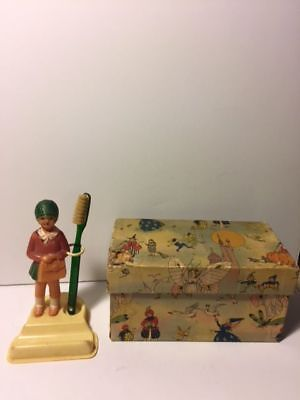 Vintage Celluloid Girl Toothbrush Holder with Stand and Original Box