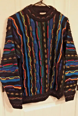 Purely Australian Coogi Style Sweater Classic Colors EUC see measurements