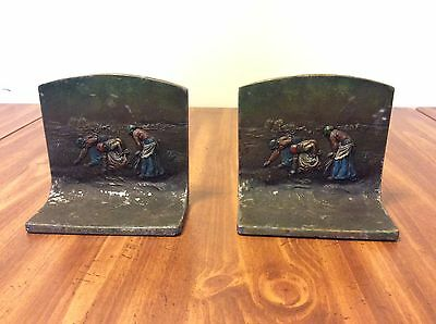 """Rare Vintage pair of bookends K & O Co 1920's """"The Gleaners"""""""