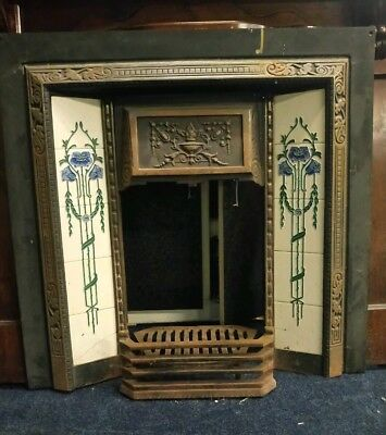 antique victorian cast iron tiled fireplace and surround vintage retro unusual