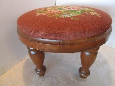 "Antique Wood Frame Round Floral NEEDLEPOINT Pouf Foot Stool 16"" across Vintage"