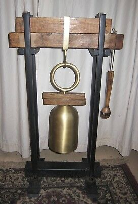 Large CHINESE BRASS Pagoda TEMPLE BELL,GONG W/STRICKER on WOOD & IRON FRAME