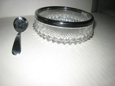 Vintage Cut Glass Bowl with Metal Rim; + Chrome Repousse Spoon- Made in England