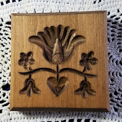 VINTAGE DILLON WOODEN Springerle Butter Cookie Stamp Press Mold PENN DUTCH TULIP