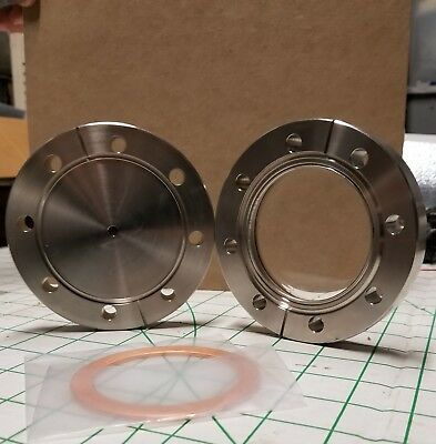 """2 high vacuum conflat (cf) flanges, one blank 1/4-2.0"""", one with window"""