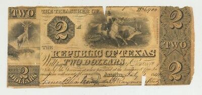 Republic of Texas-issued $2 bill dated 1841 in high grade, toned paper