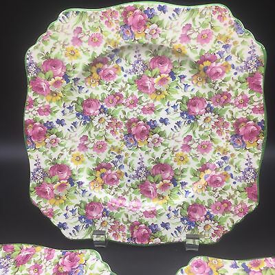 """Royal Winton Summertime Chintz 3 Plates 9"""" Green Trim Old Stamp 1930's England"""