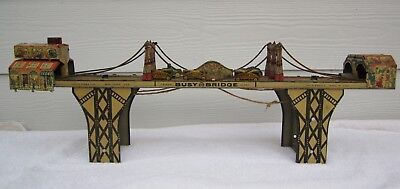 Louis Marx  Tin Busy Bridge wind up toy  vintage from the 1930's with 5 cars