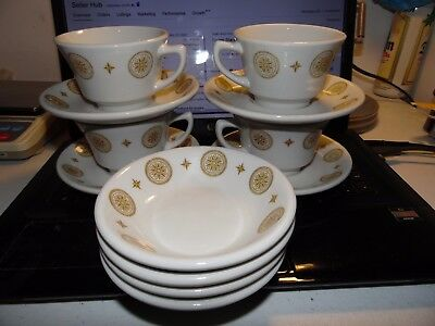 Vintage Shenango China 4-Cups, 4-Saucers, & 4-Dessert Dishes as Pictured VG Cond