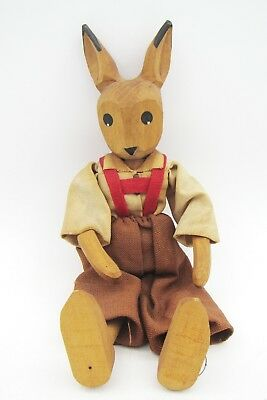 Vintage Primitive Folk Art Hand Carved Wood Rabbit Doll / Figurine