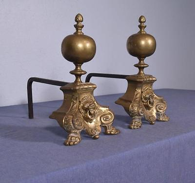 """*12"""" Antique Bronze and Iron Andirons Fireplace Chenet with Lion Faces"""