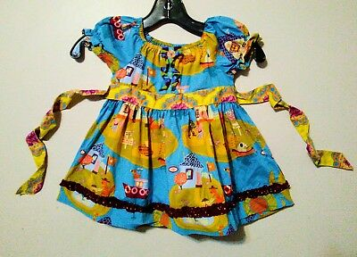 Matilda Jane~ Size 6mo Paint By Numbers Sidewalk Chalk Peasant Top in EUC
