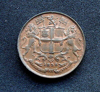 East India Company 1/4 Anna, 1858. Red aUNC