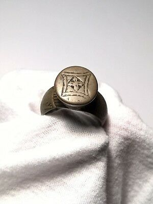 Ancient Medieval Bronze Raised Bezel Viking Sun God Ring 11th to 13th Century