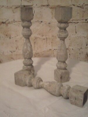 "~3 Antique Chippy White Weathered Wood Architectural Salvage 8"" Porch Spindles!~"