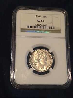 1916 D Barber Quarter Ngc Au 53 Coin Nice Luster