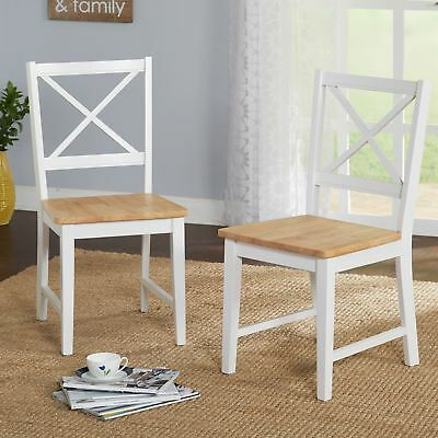 White Wood Dining Chairs Set of 2 Kitchen Room Seat Dinette Farmhouse Country