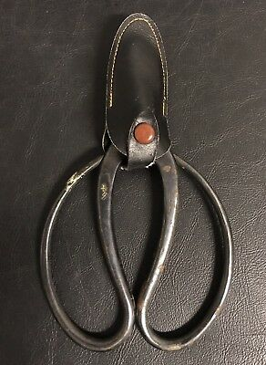Japanese Vintage Bonsai Tree Hand Forged Flower Shears Scissors w/ Cover