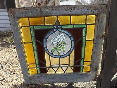Antique Stained Glass Window Flower Hand Painted Kiln Fired Sash 1900 Salvage
