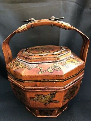 Antique Chinese Bamboo And Wood Wedding Basket