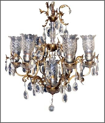Vintage French Chandelier 7 Arm Brass and Crystal with Etched Glass Shades