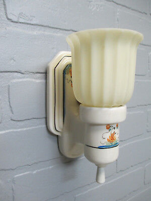 Vintage Antique Art Deco Porcelain Wall Sconce Hand Painted Custard Glass Shade