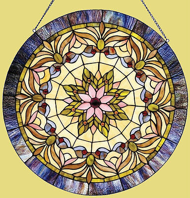 """22"""" Round Victorian Stained Glass Window Panel Tiffany Style LAST ONE THIS PRICE"""