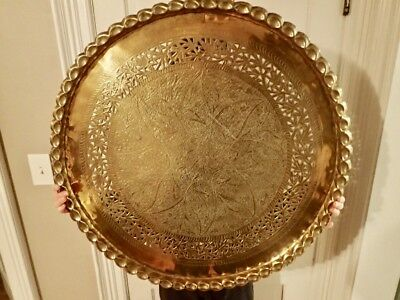 """Antique 30"""" Solid Heavy Brass Tray Coffee Table Top W/ Scalloped Edges & Cut-Out"""
