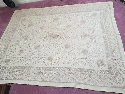 Vintage Fine Lace Rectangular Table Cloth 82X63