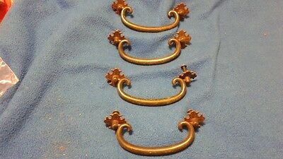 Lot Set of 4 Vintage Brass Ornate Drawer Pulls Handles FREE SHIPPING