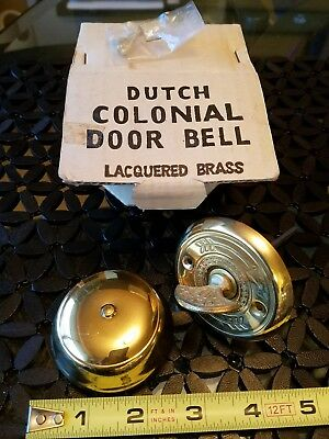 Dutch Colonial Twist-type Brass Door Bell Never Used W/box And Screws Rare Find
