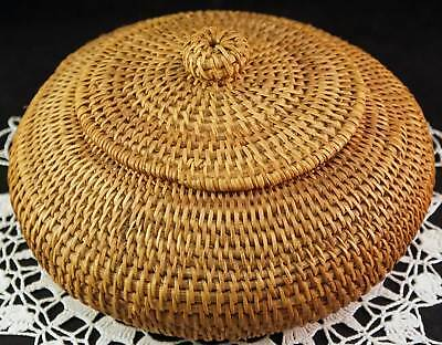 Squat Round Coil Tightly Woven Basket / Box With Knob Lid Native American ?