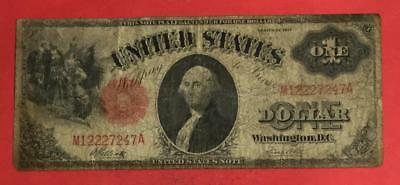 "1917 $1 RED US Legal Tender ""SAWHORSE"" LARGE SIZE! VG! Old US Currency"