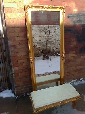 Gold Gilt Hall Mirror with Marble Top Bench