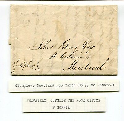 UK Glasow Scotland 1829 Privately Carried Stampless Cover / Letter via SS Sophia