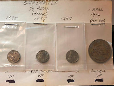 Guatemala  1/4 Real Type Coin Collection (4 coins) #55