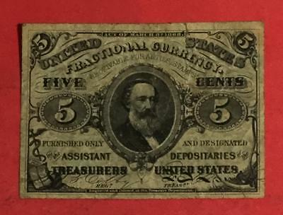 """1875 US Fractional Currency """"FIVE CENTS"""" Hard to Find! Old US Paper Currency"""