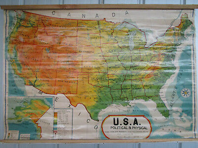 Vintage Retro  USA Political & Physical  Map, HUGE, Made in India, 100 x 70 cm