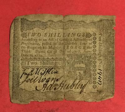 1772 US Colonial Currency Pennsylvania! Two Shillings! Old American Revolution