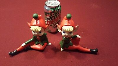 "vtg 50s 60s,2 large 6"" Japan PIXIE ELF red green yellow Christmas decoration"