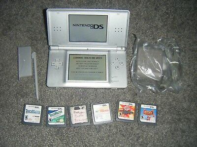 Nintendo DS Lite METALLIC SILVER Handheld System Console with Lot of 6 Games