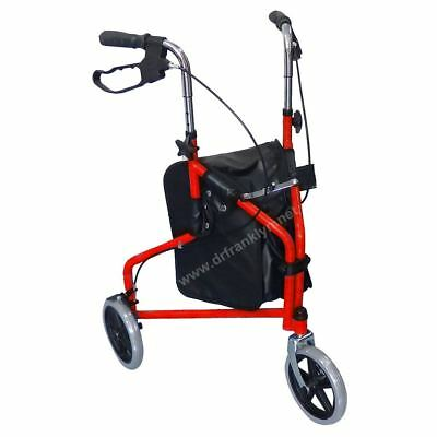 3 Wheel Rollator Walker for Seniors with Ergonomic Hand Grips and Locking Brakes