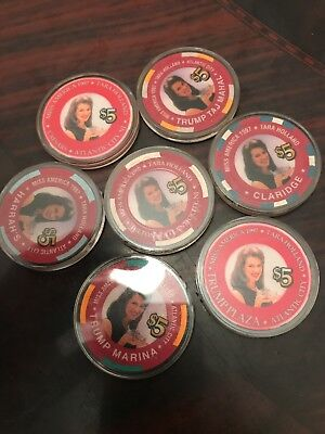7 $5 collection casino chips 1997 Atlantic City butty context