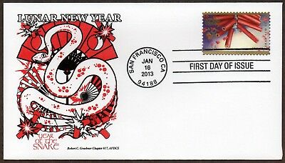 2013 Lunar New Year ~ Year Of The Snake ~ Graebner Chapter Afdcs First Day Cover
