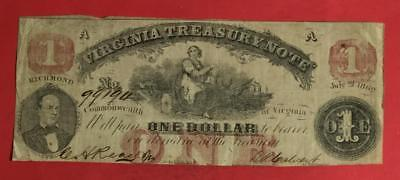 "1862 $1 US ""TREASURY NOTE"" Virginia RED SEal LARGE SIZE Currency VG/FINE!"