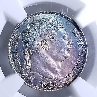 Great Britain 1818 Silver 6 Pence George III MS 64 NGC GREAT COLOR Toning WOW