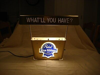 "Vintage PABST Blue Ribbon PBR ""WHAT'LL YOU HAVE"" Metal Lighted Sign"